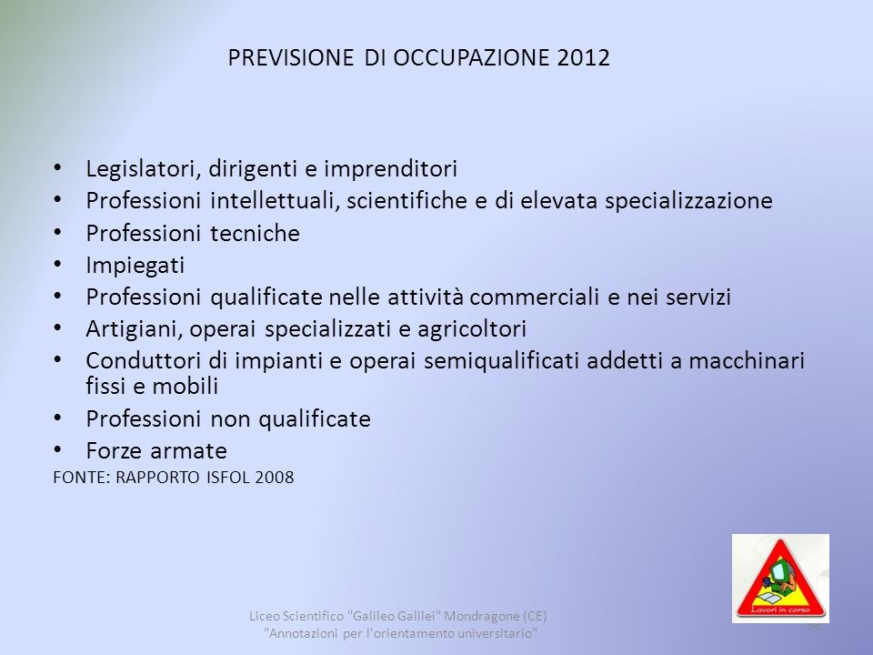PREVISIONE DI OCCUPAZIONE 2012