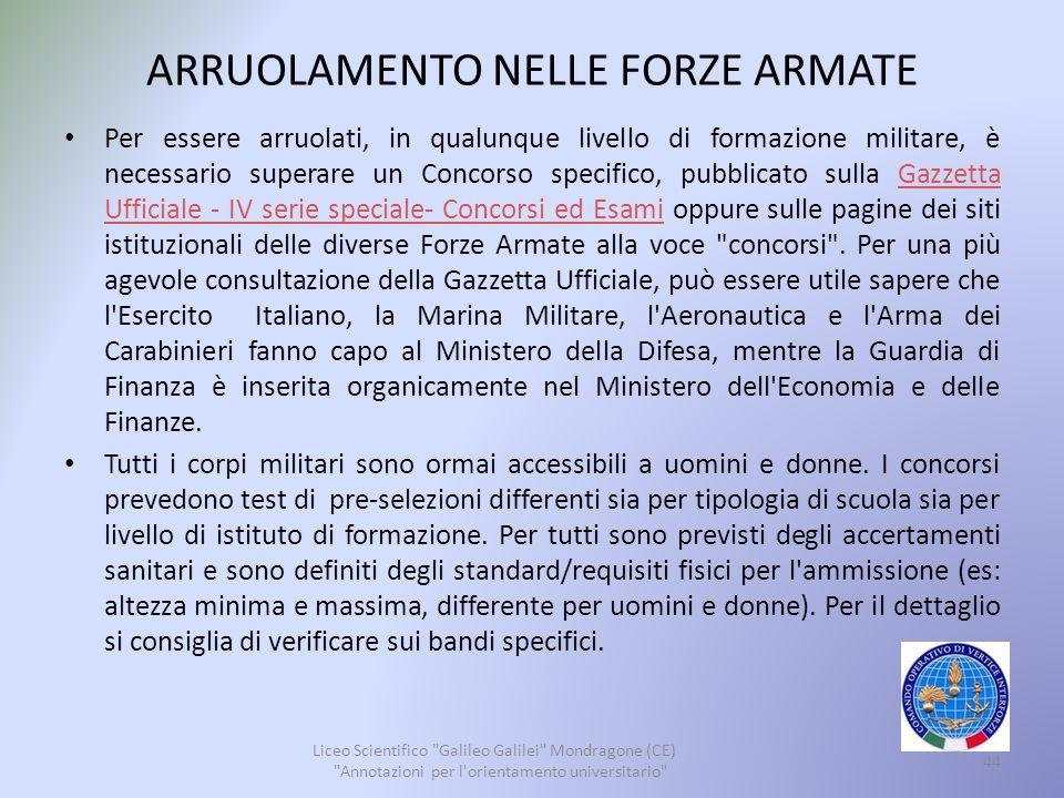 ARRUOLAMENTO NELLE FORZE ARMATE
