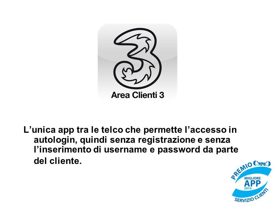 L'unica app tra le telco che permette l'accesso in autologin, quindi senza registrazione e senza l'inserimento di username e password da parte del cliente.
