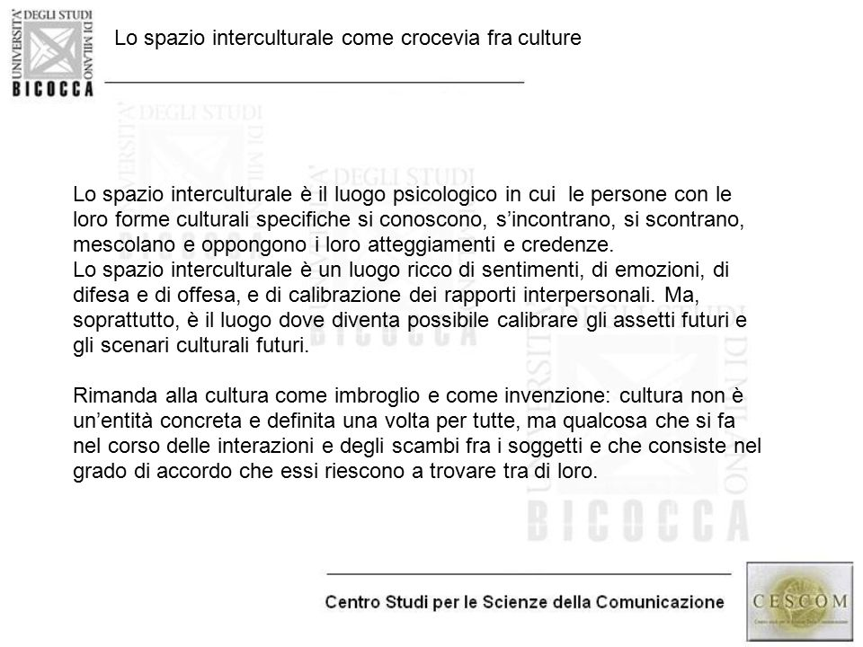 Lo spazio interculturale come crocevia fra culture