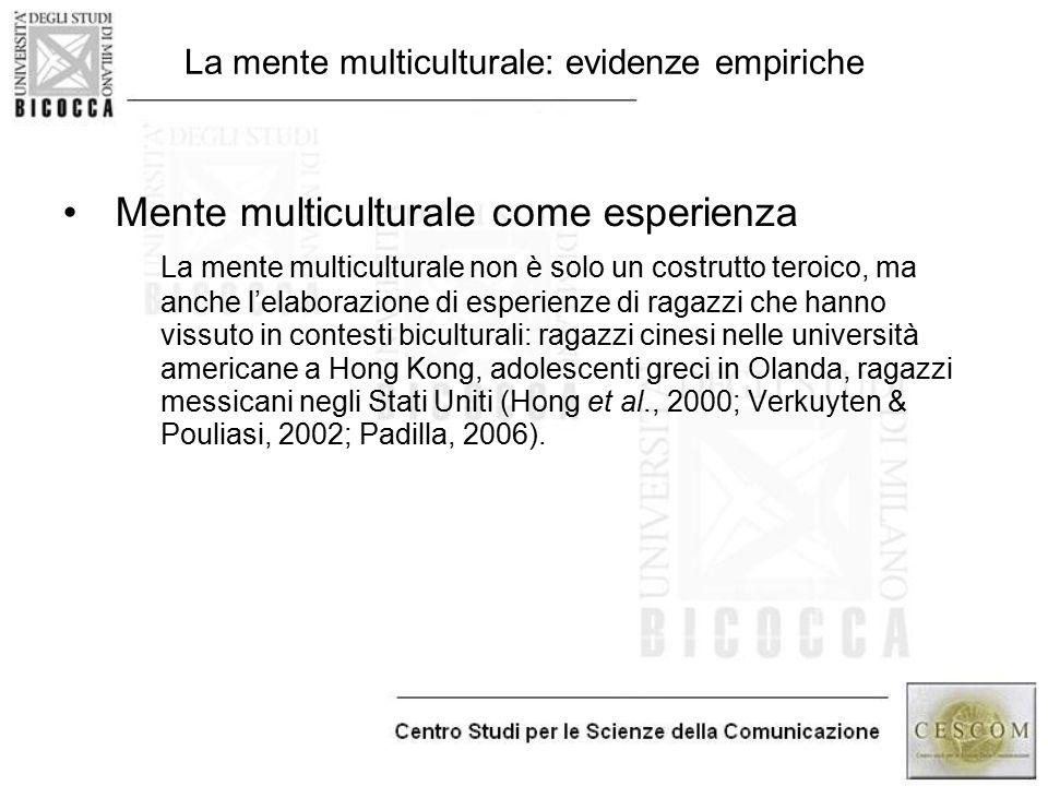 La mente multiculturale: evidenze empiriche