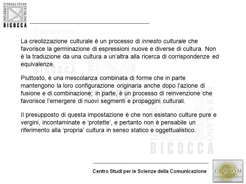 La creolizzazione culturale è un processo di innesto culturale che favorisce la germinazione di espressioni nuove e diverse di cultura. Non è la traduzione da una cultura a un'altra alla ricerca di corrispondenze ed equivalenze.