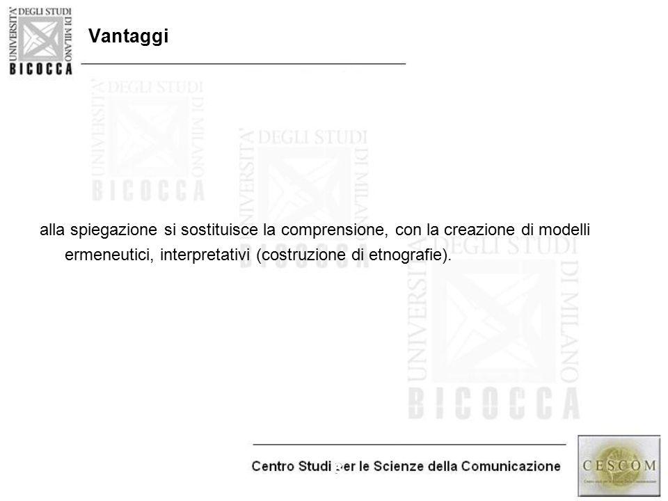 Vantaggi alla spiegazione si sostituisce la comprensione, con la creazione di modelli.