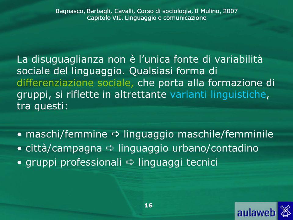 La disuguaglianza non è l'unica fonte di variabilità sociale del linguaggio. Qualsiasi forma di differenziazione sociale, che porta alla formazione di gruppi, si riflette in altrettante varianti linguistiche, tra questi: