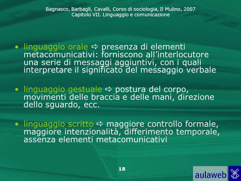 linguaggio orale  presenza di elementi metacomunicativi: forniscono all'interlocutore una serie di messaggi aggiuntivi, con i quali interpretare il significato del messaggio verbale