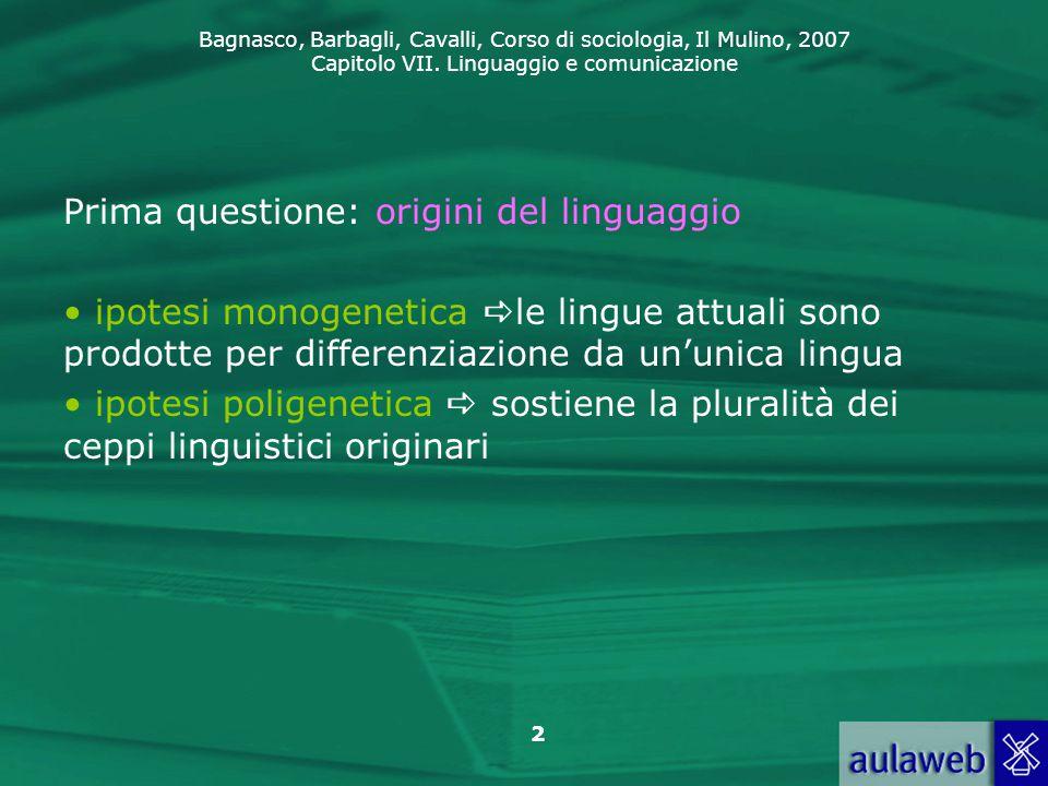 Prima questione: origini del linguaggio