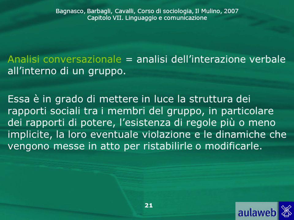 Analisi conversazionale = analisi dell'interazione verbale all'interno di un gruppo.