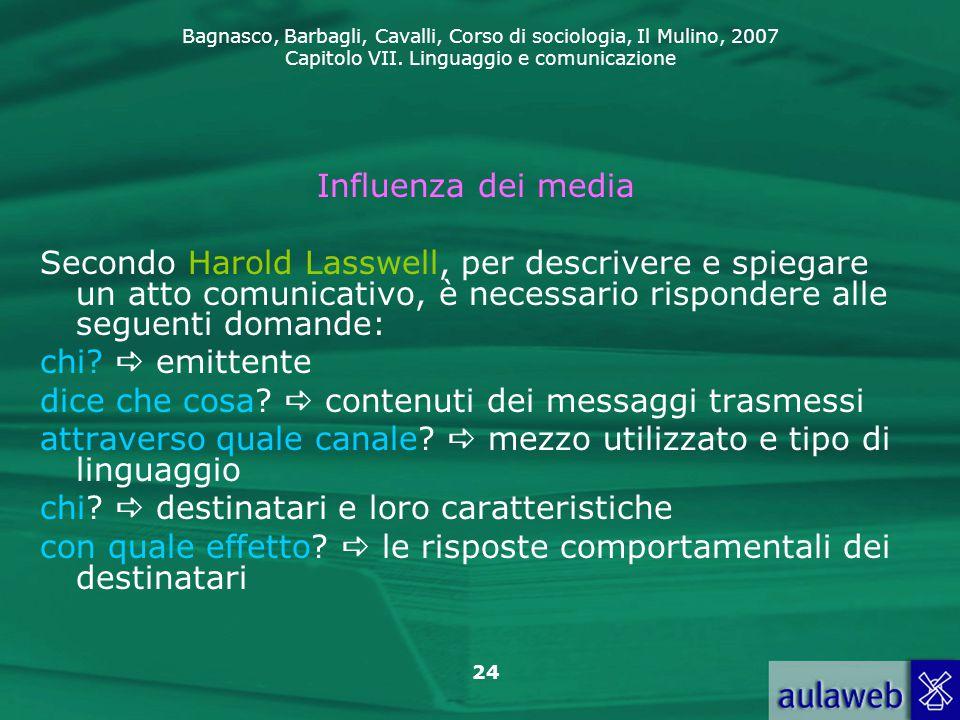 Influenza dei media Secondo Harold Lasswell, per descrivere e spiegare un atto comunicativo, è necessario rispondere alle seguenti domande:
