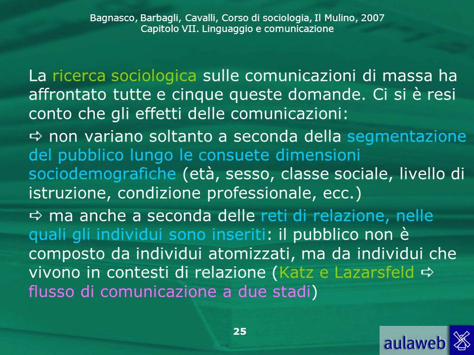 La ricerca sociologica sulle comunicazioni di massa ha affrontato tutte e cinque queste domande. Ci si è resi conto che gli effetti delle comunicazioni:
