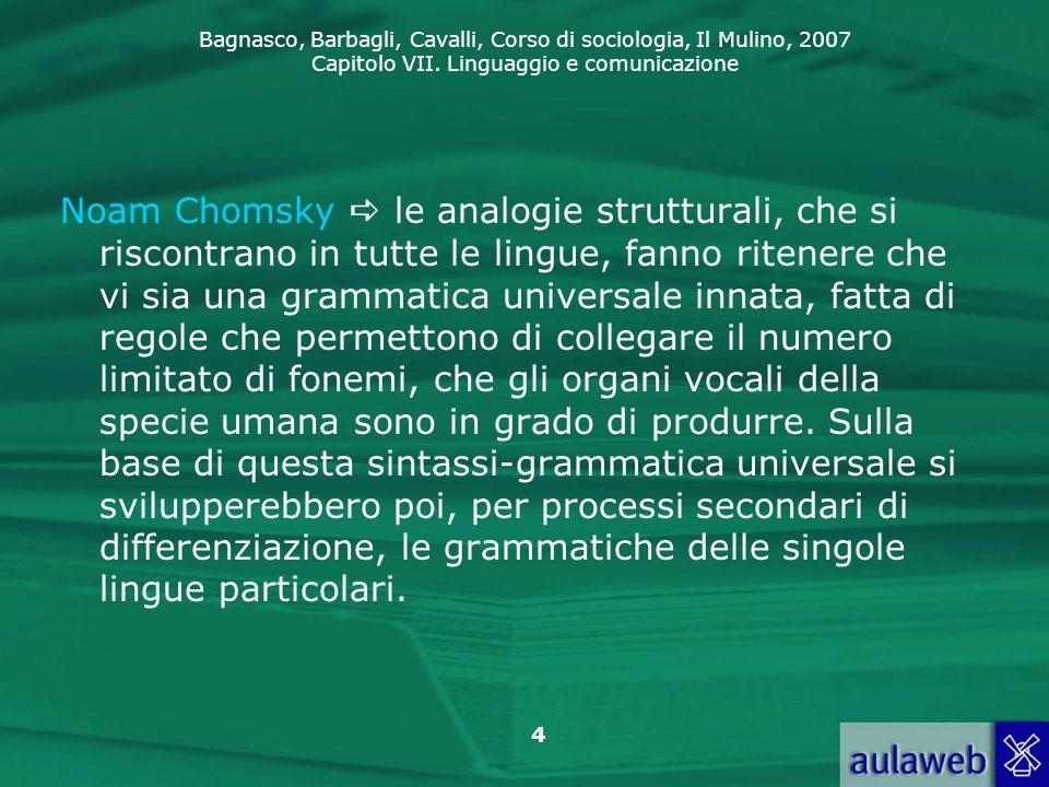 Noam Chomsky  le analogie strutturali, che si riscontrano in tutte le lingue, fanno ritenere che vi sia una grammatica universale innata, fatta di regole che permettono di collegare il numero limitato di fonemi, che gli organi vocali della specie umana sono in grado di produrre.