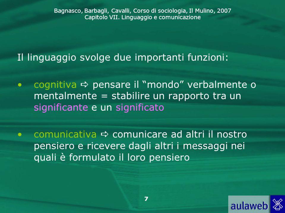 Il linguaggio svolge due importanti funzioni: