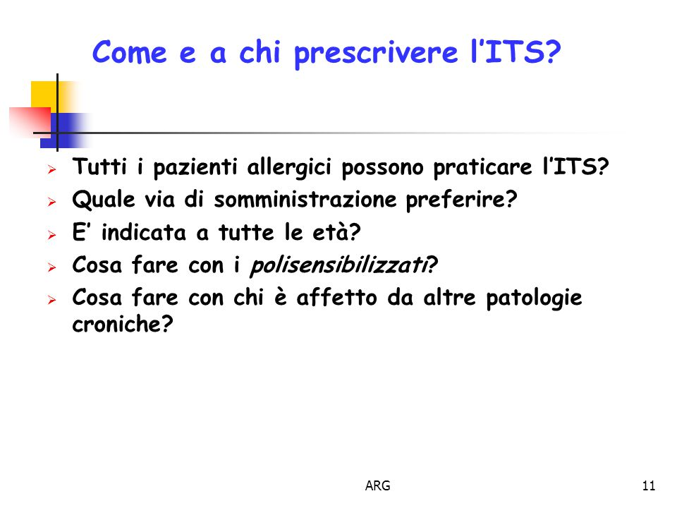 Come e a chi prescrivere l'ITS