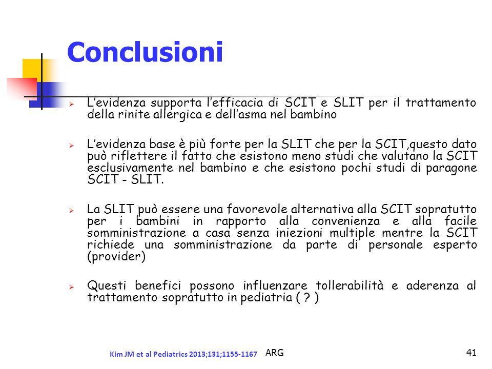 Conclusioni L'evidenza supporta l'efficacia di SCIT e SLIT per il trattamento della rinite allergica e dell'asma nel bambino.