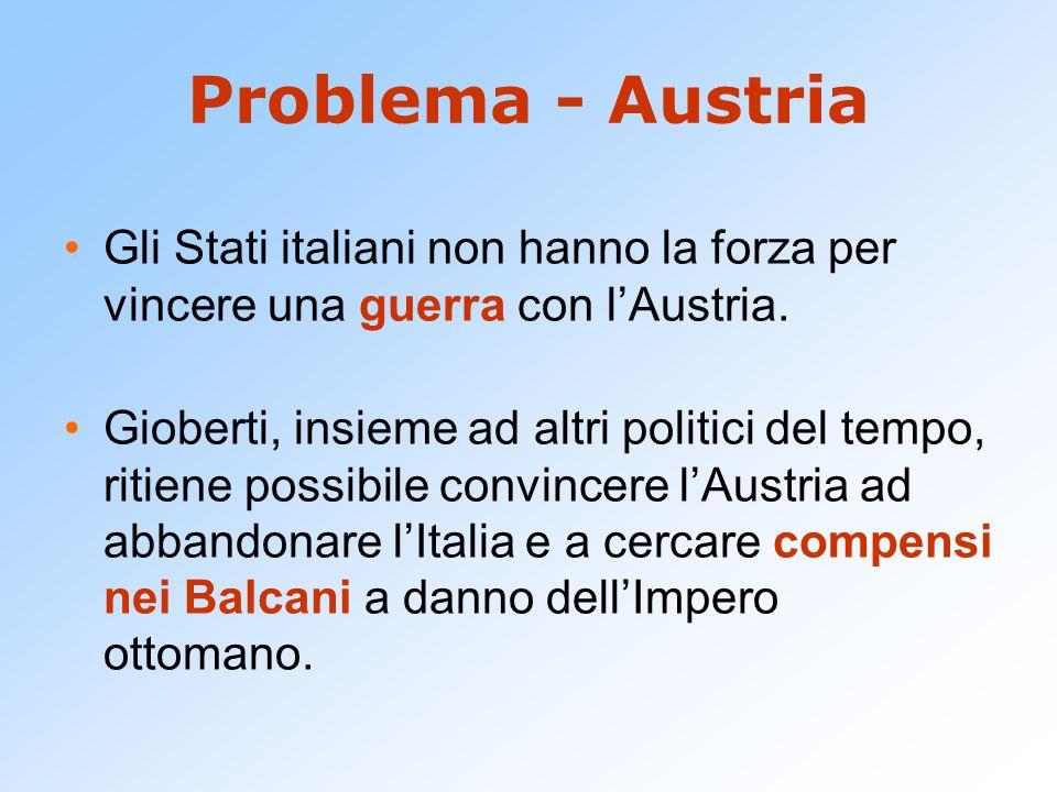 Problema - Austria Gli Stati italiani non hanno la forza per vincere una guerra con l'Austria.