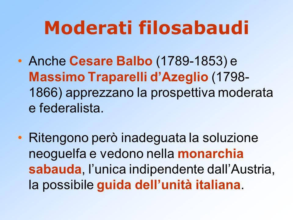 Moderati filosabaudi Anche Cesare Balbo (1789-1853) e Massimo Traparelli d'Azeglio (1798- 1866) apprezzano la prospettiva moderata e federalista.
