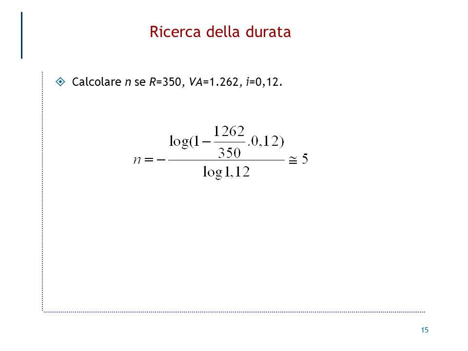 Ricerca della durata Calcolare n se R=350, VA=1.262, i=0,12.