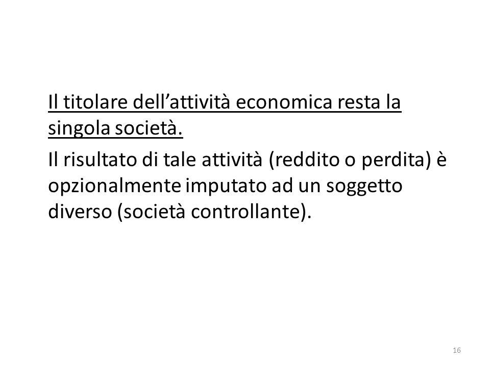 Il titolare dell'attività economica resta la singola società.