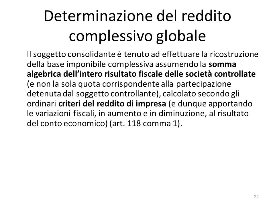 Determinazione del reddito complessivo globale