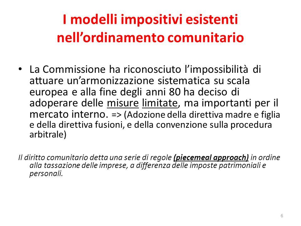 I modelli impositivi esistenti nell'ordinamento comunitario