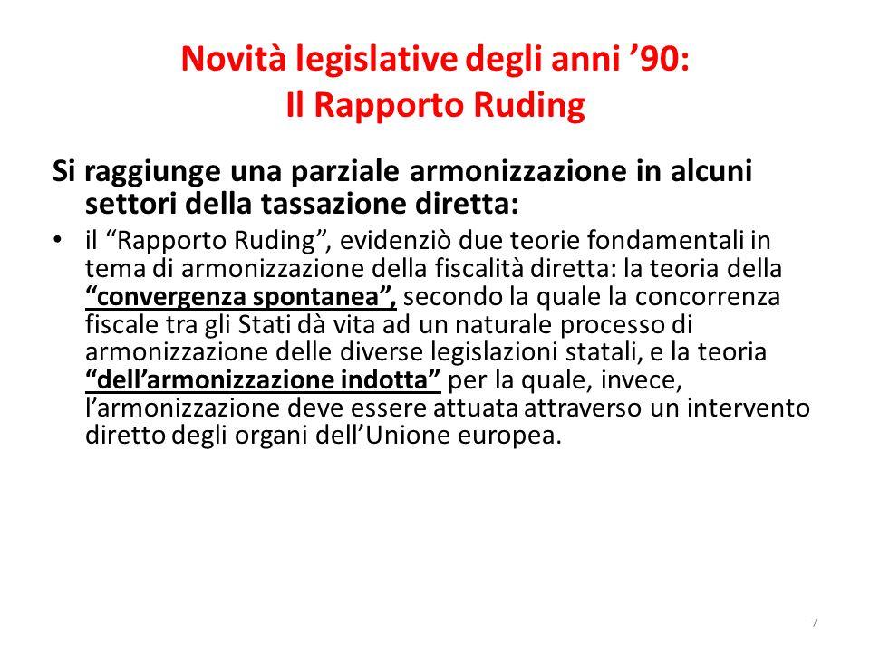 Novità legislative degli anni '90: Il Rapporto Ruding