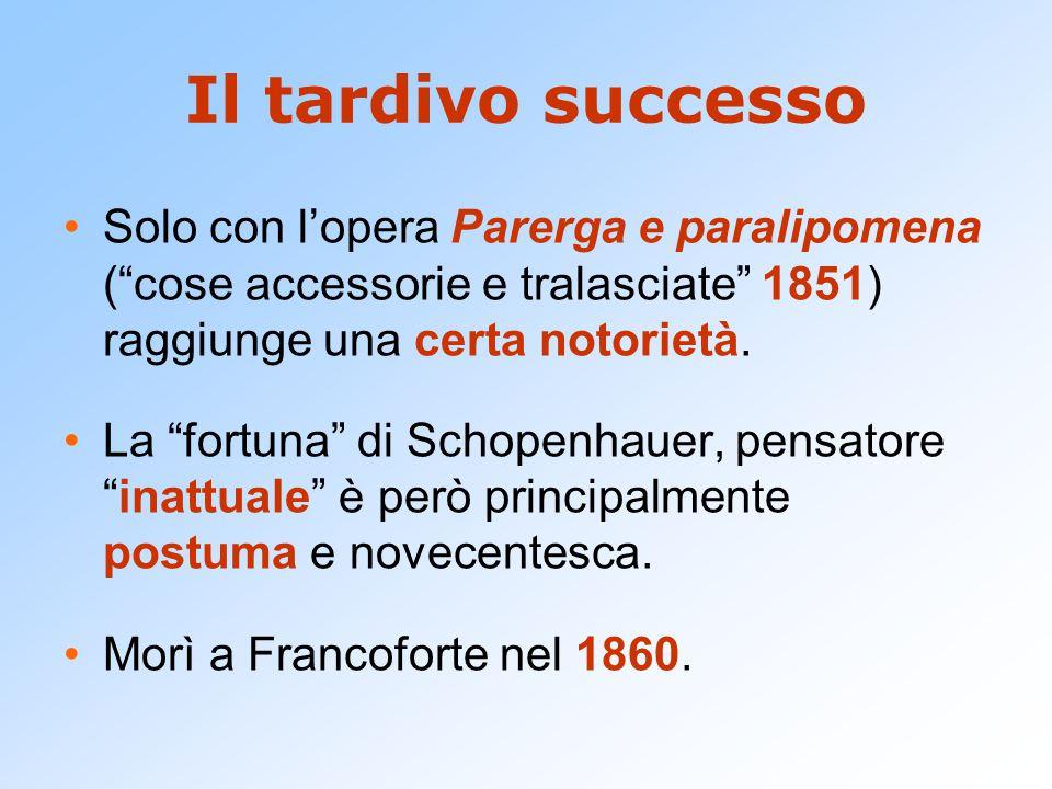 Il tardivo successo Solo con l'opera Parerga e paralipomena ( cose accessorie e tralasciate 1851) raggiunge una certa notorietà.