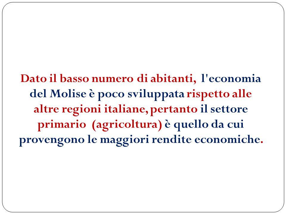 Dato il basso numero di abitanti, l economia del Molise è poco sviluppata rispetto alle altre regioni italiane, pertanto il settore primario (agricoltura) è quello da cui provengono le maggiori rendite economiche.