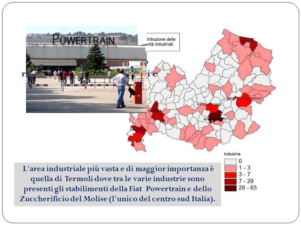 Le industrie principali sono raggruppate attorno a Termoli e a Campobasso.