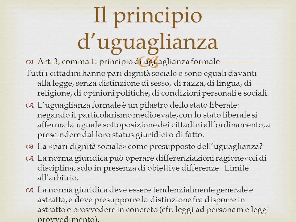 Il principio d'uguaglianza