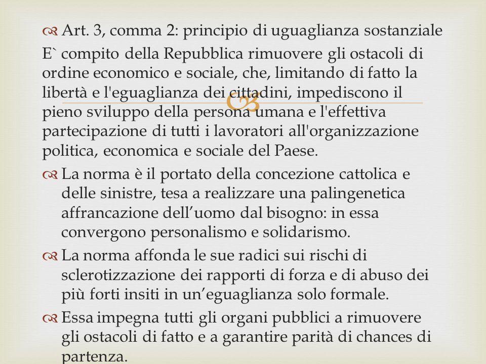 Art. 3, comma 2: principio di uguaglianza sostanziale