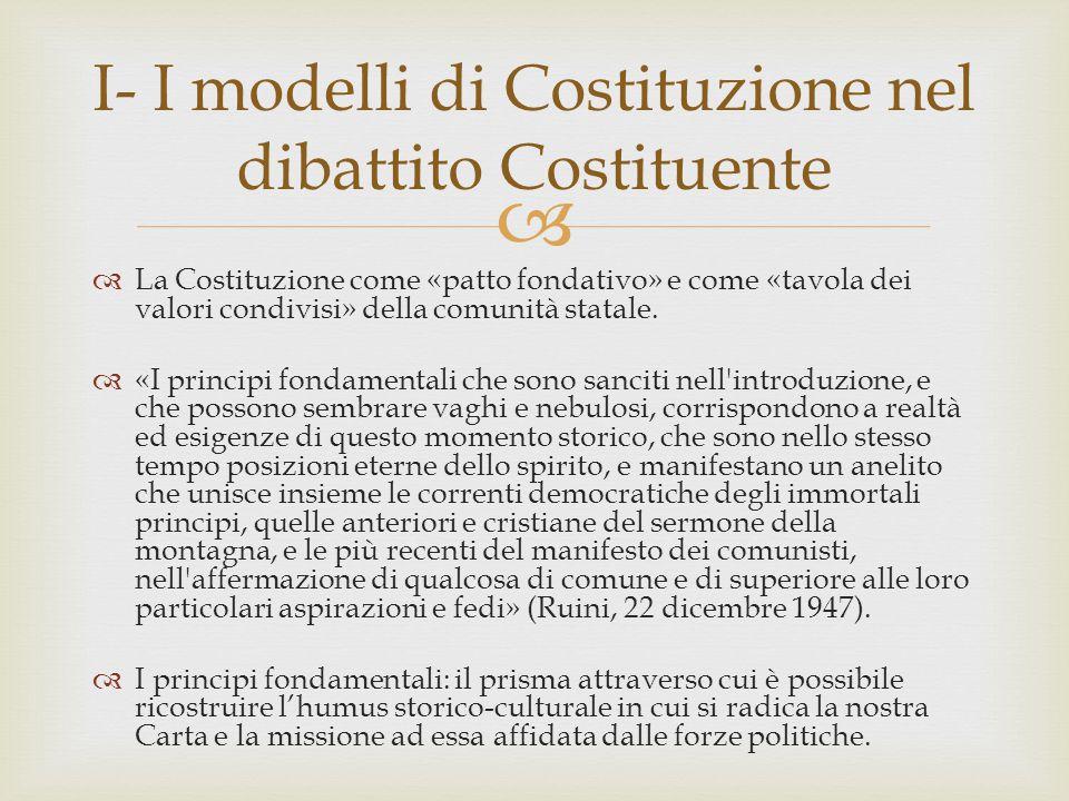 I- I modelli di Costituzione nel dibattito Costituente