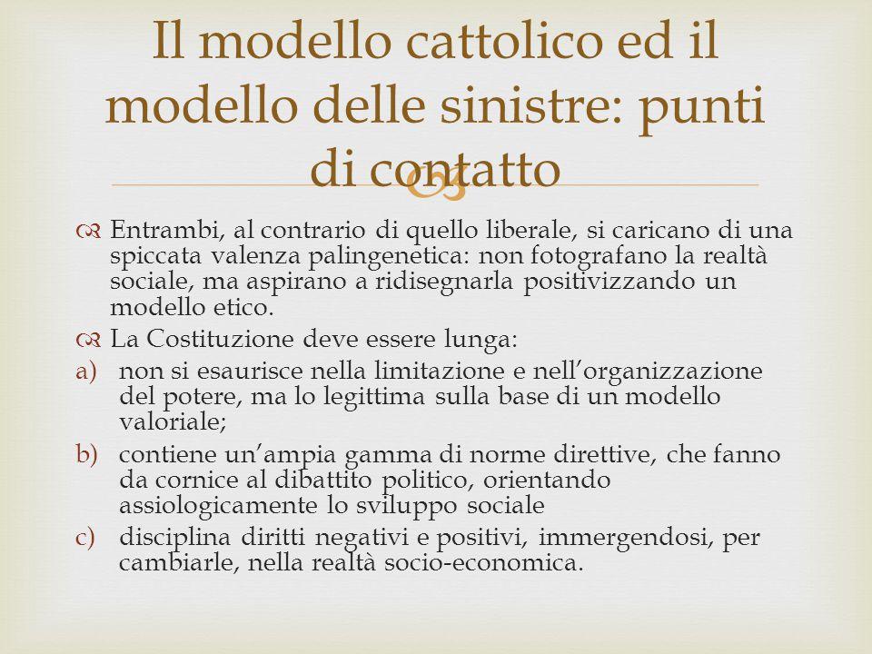 Il modello cattolico ed il modello delle sinistre: punti di contatto