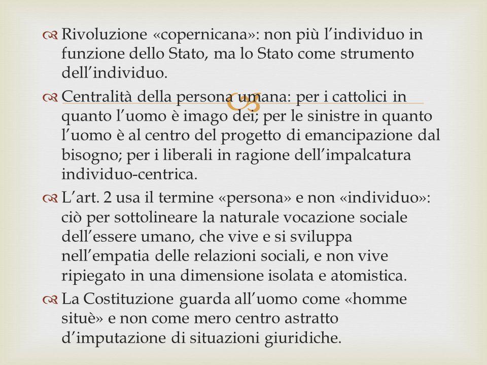 Rivoluzione «copernicana»: non più l'individuo in funzione dello Stato, ma lo Stato come strumento dell'individuo.