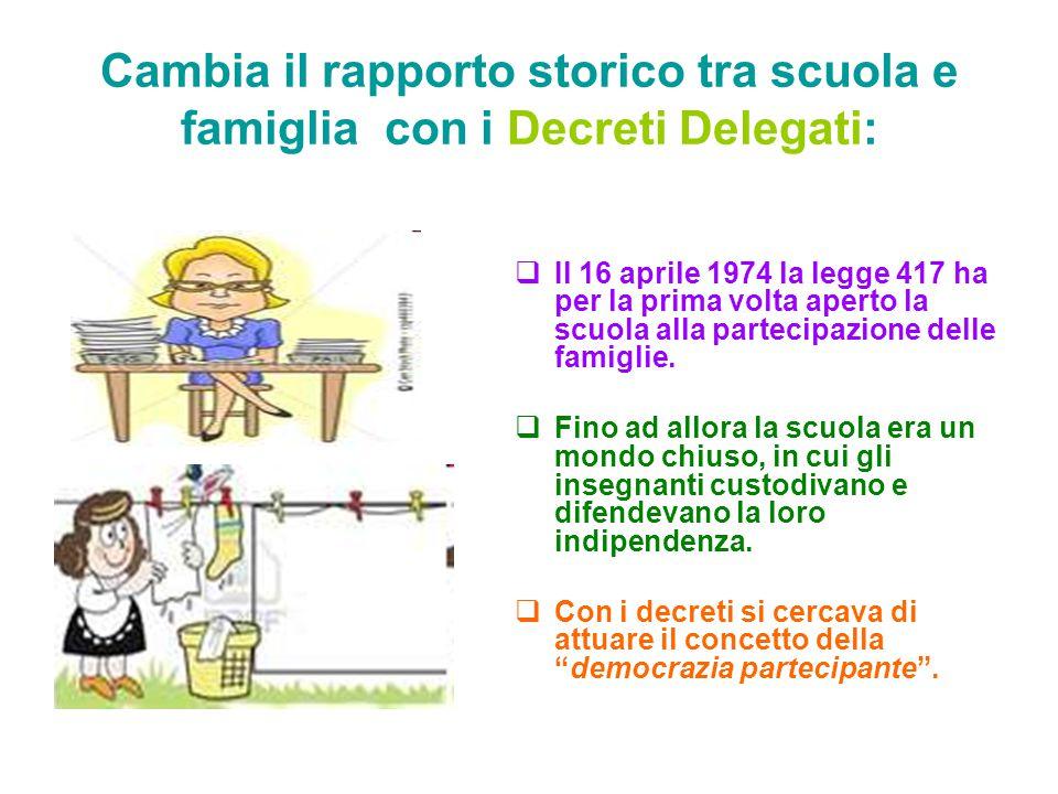 Cambia il rapporto storico tra scuola e famiglia con i Decreti Delegati:
