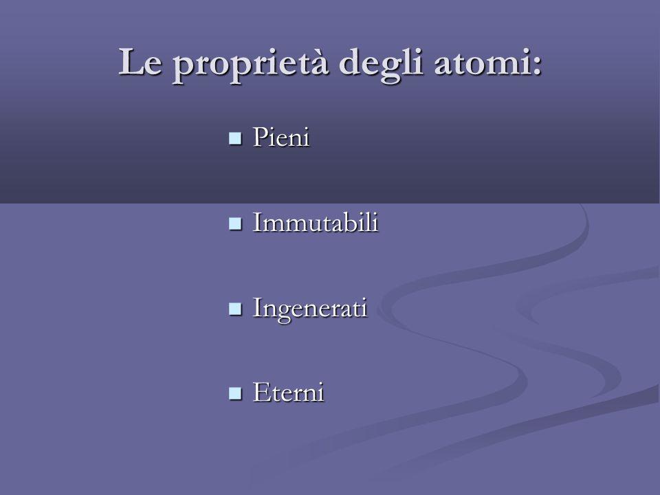 Le proprietà degli atomi: