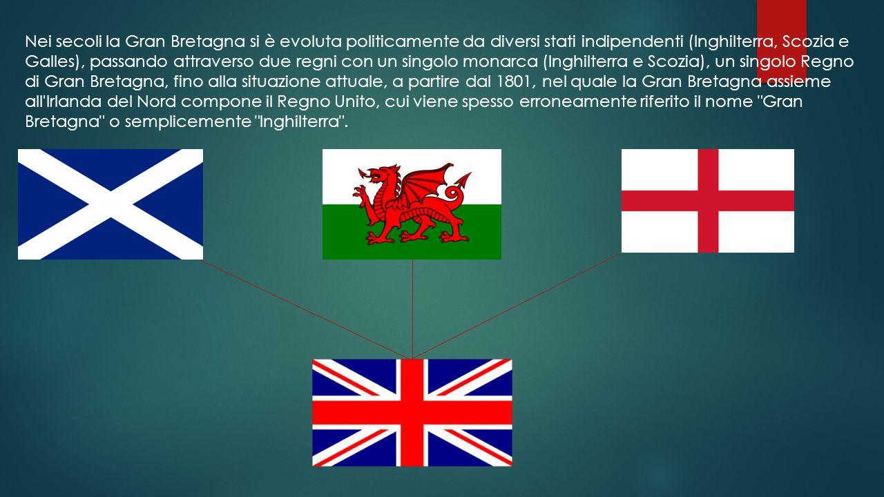 Nei secoli la Gran Bretagna si è evoluta politicamente da diversi stati indipendenti (Inghilterra, Scozia e Galles), passando attraverso due regni con un singolo monarca (Inghilterra e Scozia), un singolo Regno di Gran Bretagna, fino alla situazione attuale, a partire dal 1801, nel quale la Gran Bretagna assieme all Irlanda del Nord compone il Regno Unito, cui viene spesso erroneamente riferito il nome Gran Bretagna o semplicemente Inghilterra .