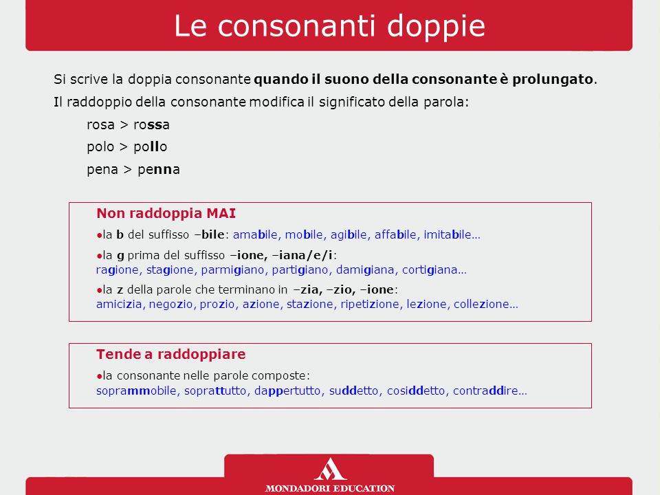 Le consonanti doppie Si scrive la doppia consonante quando il suono della consonante è prolungato.