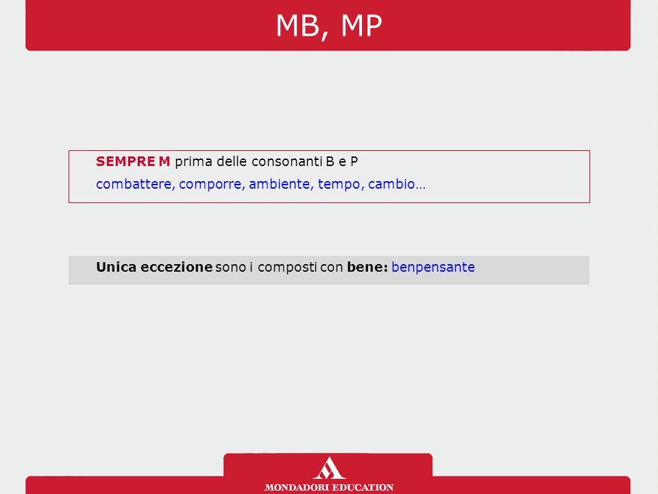 MB, MP SEMPRE M prima delle consonanti B e P
