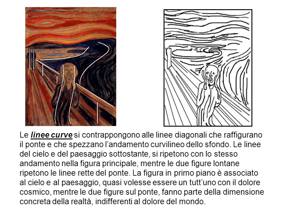 Le linee curve si contrappongono alle linee diagonali che raffigurano il ponte e che spezzano l'andamento curvilineo dello sfondo.