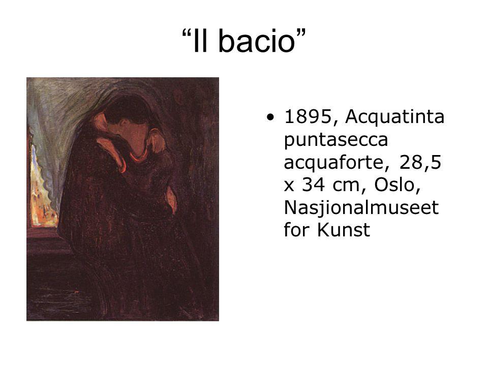 Il bacio 1895, Acquatinta puntasecca acquaforte, 28,5 x 34 cm, Oslo, Nasjionalmuseet for Kunst