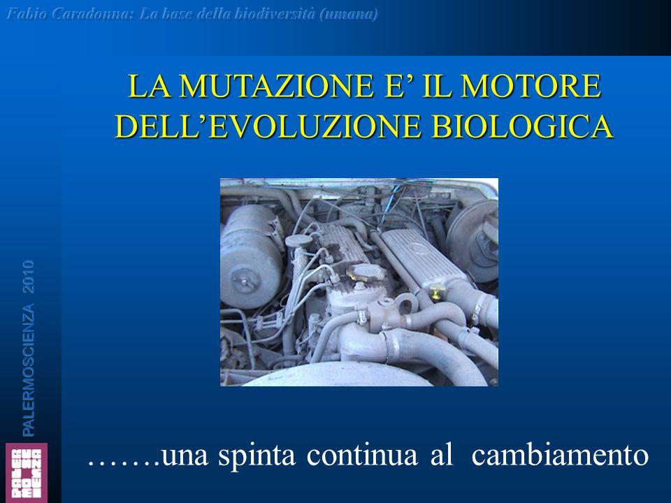 LA MUTAZIONE E' IL MOTORE DELL'EVOLUZIONE BIOLOGICA