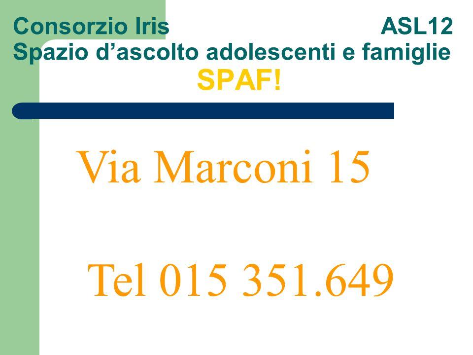 Consorzio Iris ASL12 Spazio d'ascolto adolescenti e famiglie SPAF!