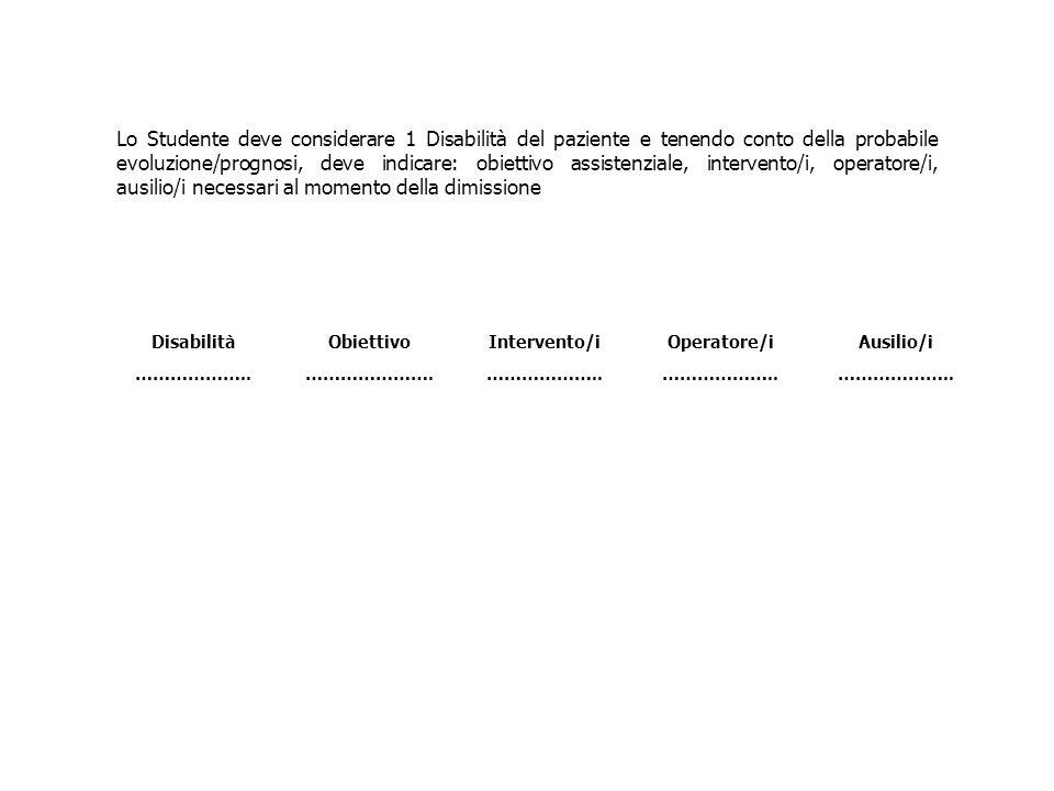 Lo Studente deve considerare 1 Disabilità del paziente e tenendo conto della probabile evoluzione/prognosi, deve indicare: obiettivo assistenziale, intervento/i, operatore/i, ausilio/i necessari al momento della dimissione