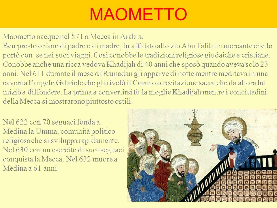 MAOMETTO Maometto nacque nel 571 a Mecca in Arabia.