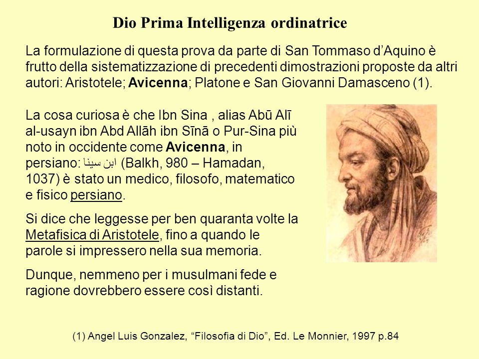 Dio Prima Intelligenza ordinatrice