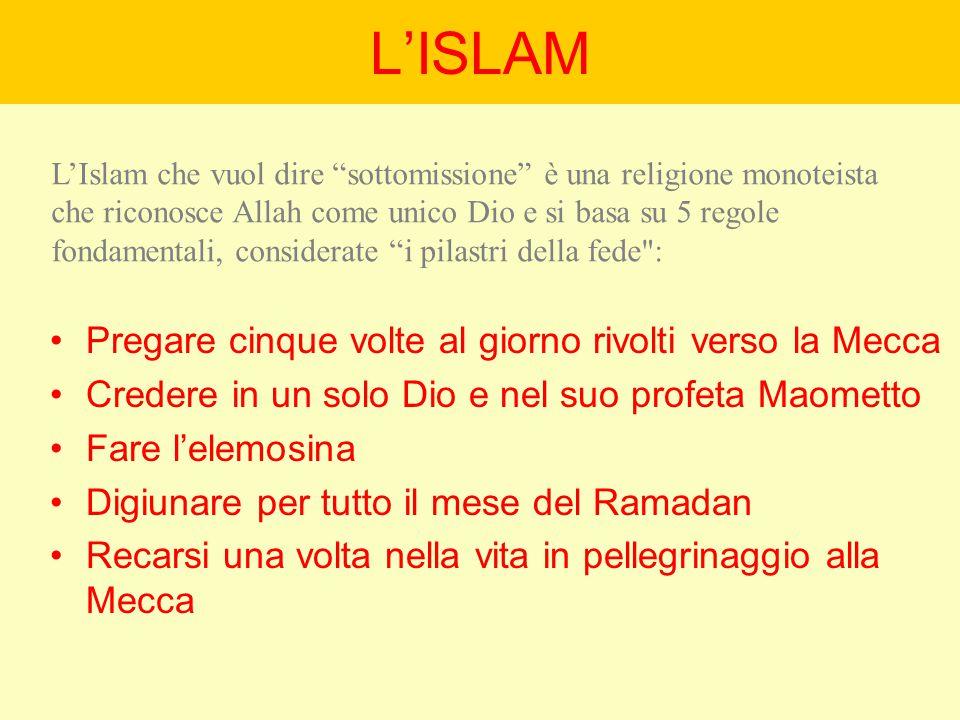 L'ISLAM Pregare cinque volte al giorno rivolti verso la Mecca