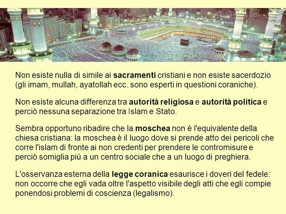 Non esiste nulla di simile ai sacramenti cristiani e non esiste sacerdozio (gli imam, mullah, ayatollah ecc. sono esperti in questioni coraniche).
