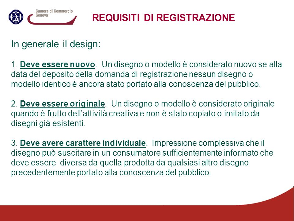 REQUISITI DI REGISTRAZIONE
