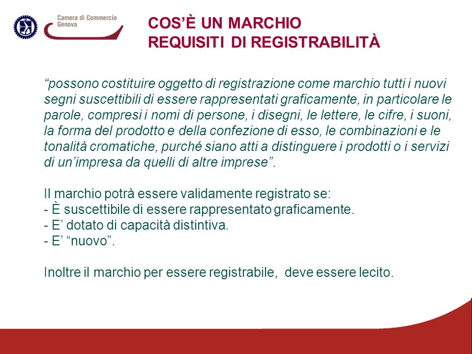 REQUISITI DI REGISTRABILITÀ