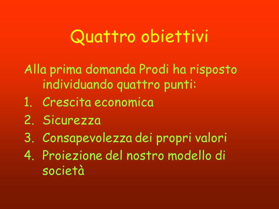 Quattro obiettivi Alla prima domanda Prodi ha risposto individuando quattro punti: Crescita economica.