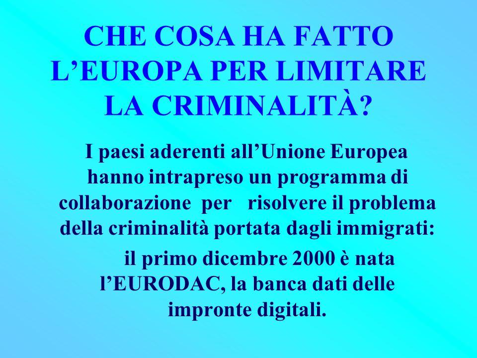 CHE COSA HA FATTO L'EUROPA PER LIMITARE LA CRIMINALITÀ